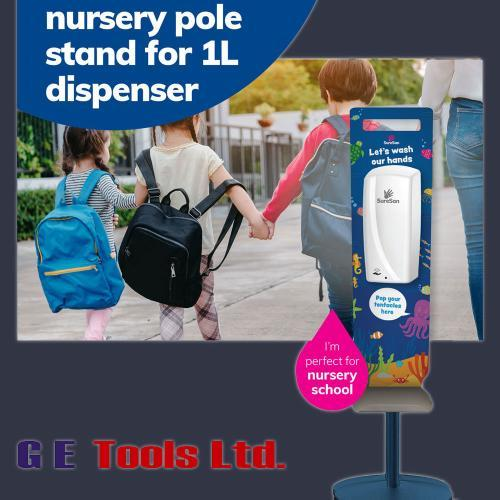 Nursery school sanitiser dispenser board